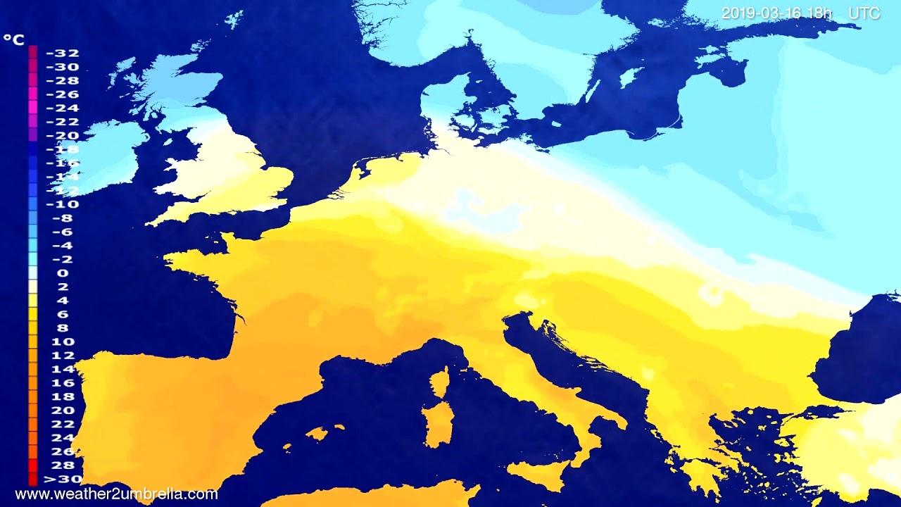 #Weather_Forecast// Temperature forecast Europe 2019-03-15