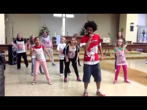 Rhys teaching a funk-style popping and locking workshop