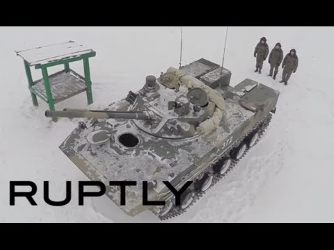 Footage - Drone footage captures how the latest armoured fighting vehicle to enter service with Russia's airborne forces was tested in exercises, Wednesday. COURTESY: RT's RUPTLY video agency, NO ...