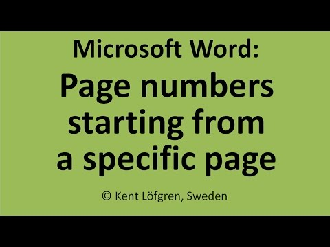 page - My latest tutorial: https://www.youtube.com/watch?v=DRL4PF2u9XA It can be tricky to start page numbering on a specific page, with with number 1. For example,...
