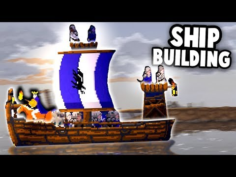 VIKING SHIP Building!  We need to ESCAPE this Island! (Kingdom New Lands Ep 2 Skull Island DLC)