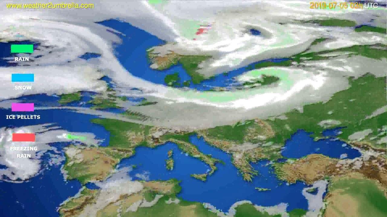 Precipitation forecast Europe // modelrun: 00h UTC 2019-07-02