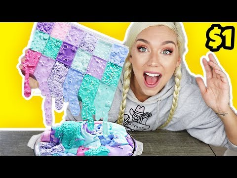 MIXING $1 SLIME PALLETE AND DOLLAR STORE SLIMES! GIANT DOLLAR STORE SLIME SMOOTHIE! SO SATISYING!