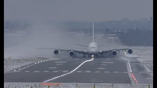 Video Airbus A380 Extreme weather crosswind landing and takeoff Lots of Snow spray MP3, 3GP, MP4, WEBM, AVI, FLV Januari 2019