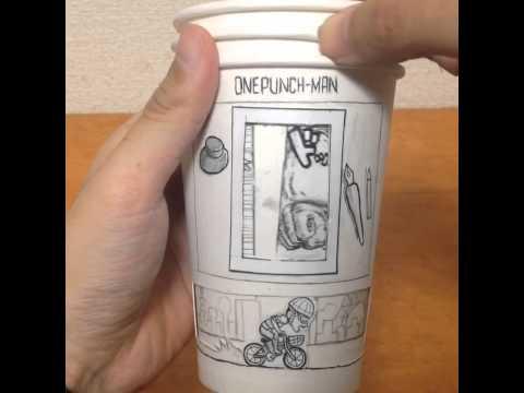 這個男生這樣把3個紙杯畫成這樣,當3個疊在一起轉動時...《一拳超人》粉絲會愛到爆!