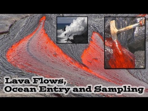 ipad in Lava - Video footage shows rivers of molten lava flowing to the sea. The difference between magma and lava is explained along with scenes showing geologist sampling...