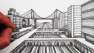 See How to Draw a City in 1-Point Perspective Step by Step for Beginners. SUBSCRIBE: http://www.youtube.com/circlelineartschoolNarrated step by step art tutorial, learn how to draw using 1-Point perspective: Draw a City with Roads and Bridges in perspective, using a 2B pencil.Watch Next: How to Draw Perspective Playlist: http://bit.ly/1QV3SsWThis 1-Point Perspective drawing is a drawing of a City in Perspective, draw a view in 1-point perspective, step by step.I hope you LIKE, COMMENT & SUBSCRIBE: http://youtube.com/circlelineartschoolHow to Draw in 1-Point Perspective Step by Step for Beginners: Draw a City in Perspective Step by Step: Circle Line Art School: Episode 233The first step is to draw a horizontal line halfway up your page, next draw a across in the middle of this line, this will be the vanishing point for this one point perspective drawing, from this vanishing point, draw two diagonal lines to the left and then two diagonal lines to the right.Thank you for watching this 1-Point Perspective art tutorial from my channel, Circle Line Art School, please subscribe to my channel for a new art tutorial each week, there are now more than 230 of my drawings to watch! http://www.youtube.com/circlelineartschoolCircle Line Art School: Free Art Tutorials OnlineHi, my name is Tom McPherson and I founded Circle Line Art School as an online art education resource for all. My aim is to inspire people to learn to draw and be more creative.Please leave a comment to let me know what kind of drawing you would like to see next.You can follow me on:Facebook: http://www.facebook.com/circlelineartschoolInstagram: https://www.instagram.com/circlelineartschool/For weekly YouTube art videos: http://www.youtube.com/circlelineartschoolFor my website please visit: http://www.circlelineartschool.comThank you for your support and have a great day! Tom McPhersonCircle Line Art Schoolhttp://www.circlelineartschool.comMusic used in this one point perspective art lesson:Rubix Cube by Audionautix is licensed under a Creative Commons Attribution licence (https://creativecommons.org/licenses/by/4.0/)Artist: http://audionautix.com/Plastic or Paper by Wes HutchinsonHow to draw a City in perspective for beginners: Narrated 3D art tutorial for beginners, step by stepLearn to Draw with Circle Line Art School