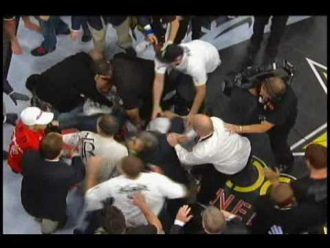 Jake Shields Nate and Nick Diaz fight Mayhem Miller Post Fight after Mayhem Rushes Ring Slow Motion