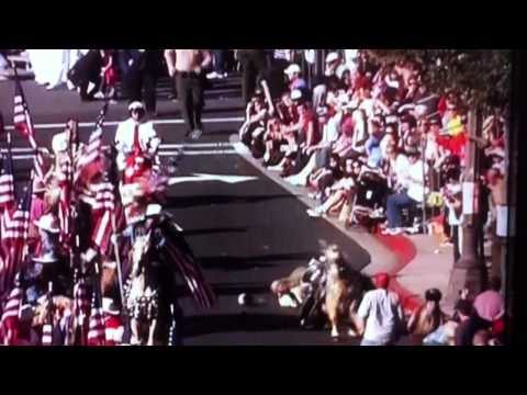 Rider gets bucked off horse during the Pasadena Rose Parade