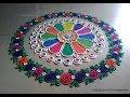 Easy and beautiful rangoli with border of multicolored roses | I Rangoli designs by Poonam Borkar