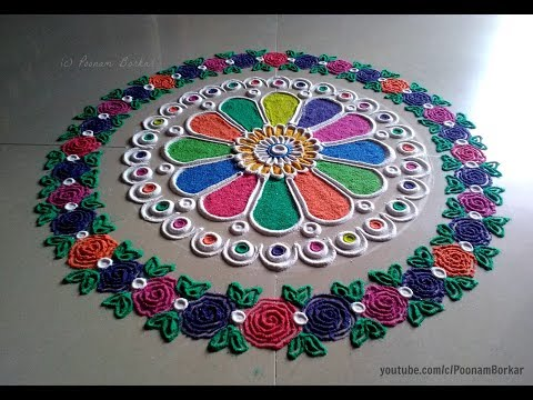 Video Easy and beautiful rangoli with border of multicolored roses | I Rangoli designs by Poonam Borkar download in MP3, 3GP, MP4, WEBM, AVI, FLV January 2017