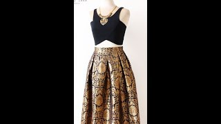 Video Box Pleated Brocade Long Skirt With Full Flare (DIY) download in MP3, 3GP, MP4, WEBM, AVI, FLV January 2017