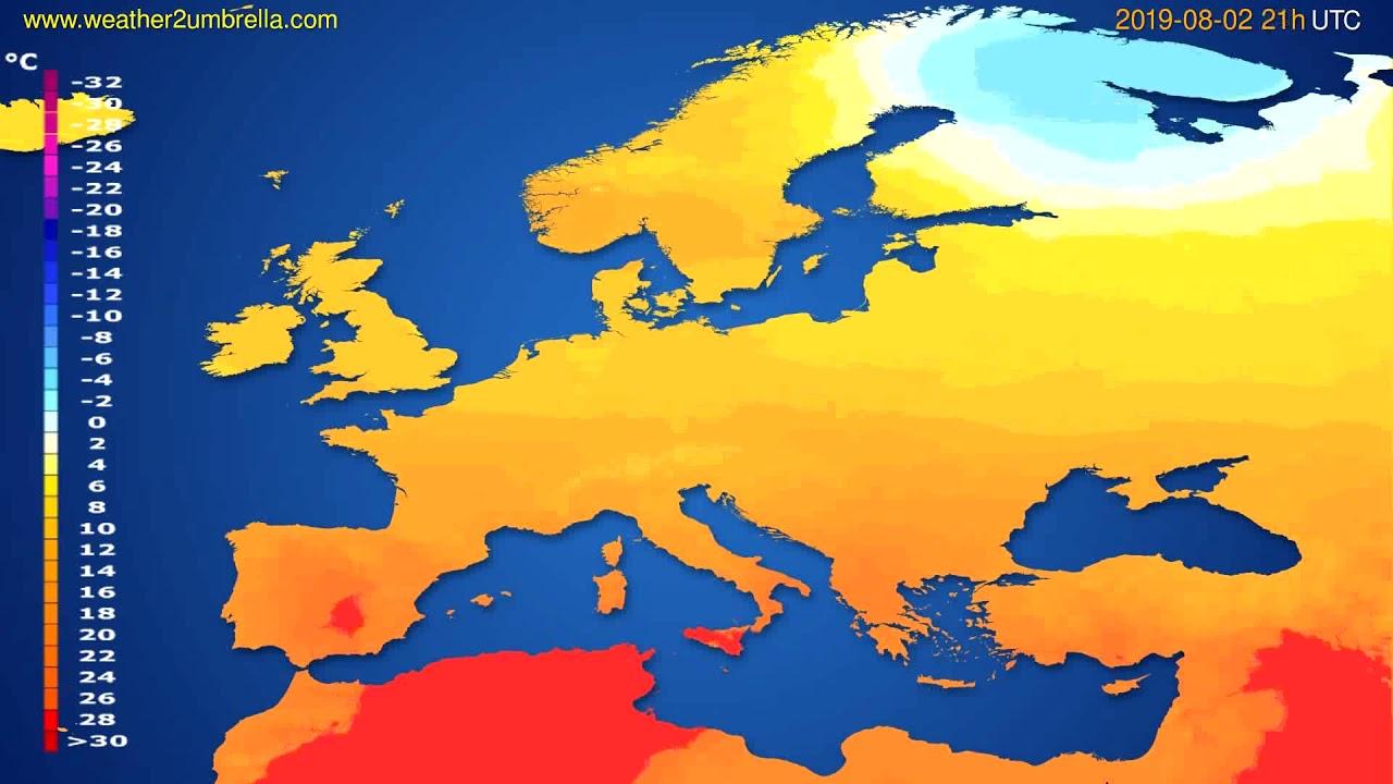 Temperature forecast Europe // modelrun: 00h UTC 2019-08-01
