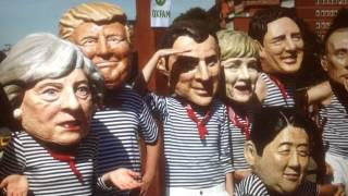 """On """"Day 168"""" of the Donald Trump White House Regime, The Dog and Pony Show has arrived in Germany. """"Welcome to Hell"""" signs greet the American/Zion/G20 Leaders.  The same day that Trump shakes Merkel's hand, they are starting a 60day Liquidation sale on 7-6-17 of the Old Trump Taj Mahal Casino in Atlantic City. After every Trump Bankruptcy, Wilbur Ross or Carl Icahn come in and Save his Ass and they have a Fire Sale..,   """"Make America Great Again""""  lmfao !!!   Good timing for Trump to be in Europe when the Sale starts.  Have you ever wonder how a Pretty Blonde who wrote for Breitbart could be inserted on to the National Security Council ? Well it was a secret for a while, But now Tera Dahl wants another Big Government Job, so she is leaving the NSC !!!  The First Lady of Poland was able to avoid Shaking Trumps Hand, she must have heard what that hand was grabbing ?"""