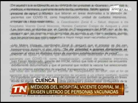 Médicos del hospital Vicente Corral M., exigen listado de personas vacunadas