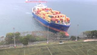 Container Ship Sails Straight To Shore
