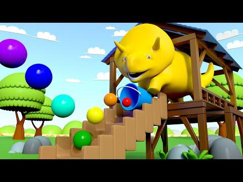 Dino spielt mit Flummis und lernt Farben - Dino dem Dinosaurier 👶 Lehrreiche Cartoons für Kinder (видео)