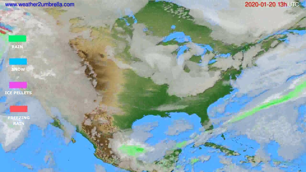 Precipitation forecast USA & Canada // modelrun: 12h UTC 2020-01-19