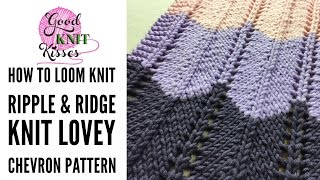"""On of my biggest requests has been how to loom knit the chevron stitch.  Wait no longer! Learn how to knit the Bernat Ripple and Ridge Knit Blanket from Yarnspirations featuring the new Bernat Beyond yarn! Pattern and blog LINK HERE https://goo.gl/YOjnGcThe pattern falls in the EASY SKILL level for knitting.  I cover all stitches, including the increase and decrease, and weaving tails so if this is your first big project you will have all skills needed in this video.  If you have never knit a stitch before I do recommend learning the knit and purl with one of my slower videos first.Let's knit this blanket together! Download your pattern at the blog link above. Remember it is a NEEDLE pattern but I will go through how to convert.  It is super easy and all you need to do is print your copy and make a few notes! YarnBernat Beyond color Cream (7 balls). Contrast ABernat Beyond color Slate (4 balls). Contrast B Bernat Beyond color Pumpkin (4 balls). Contrast C *For Lovey size - 1 ball each color.Loom & Supplies• LG Large Gauge loom 5/8"""" or 11/16"""" spacing with at least 48 pegs for lovey size or 139 for blanket size (Try CinDwood Looms, Kiss-looms). **You can also use this stitch pattern on any loom size with appropriate weight yarn and even change the color repeats. • scissors, tape measure to check peg spacing• Stitch markers or rubber bands, tapestry needle, loom hookSkill LevelEasySizeApprox 50½"""" x 60"""" [128.5 x 152.5 cm]. (Baby """"Lovey"""" size 15""""x19"""")Skills demonstrated in tutorialDouble E-Wrap Cast-onKnit StitchPurl StitchK2tog - decreaseYO - increaseBind offWeaving in endsThe blanket begins with a garter border then jumps right into the ripples.  The ripples are created with a simple 2 row repeat that includes the K2tog (knit 2 stitches together) increase and the YO (yarnover) decrease.  That's right only two distinct rows to learn!  My video tutorial walks you through the entire pattern from start to finish.  We'll spend most of our time focusing on the 2 rows of the """