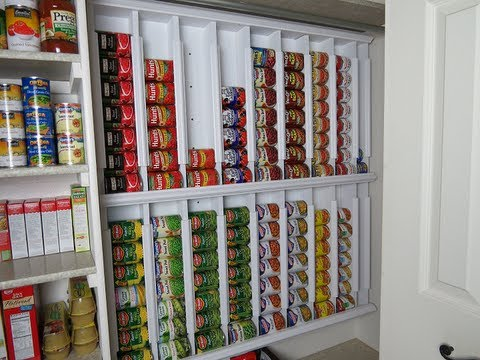 canned food - We had much fun making this wall hanging canned food rotating system. Supplies were right around $100 - this system holds 126 cans. More info can be found on...