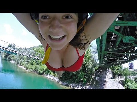 Rope Swing Basketball Tricks Off Bridge