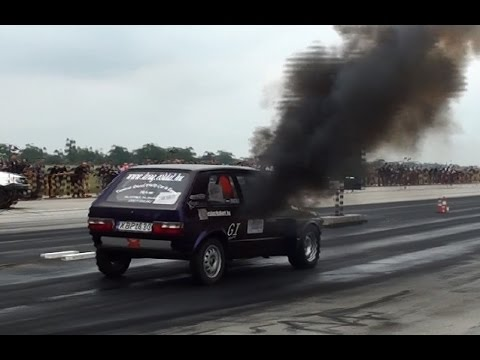 fiat uno turbo vs. vw golf i tdi - drag race!