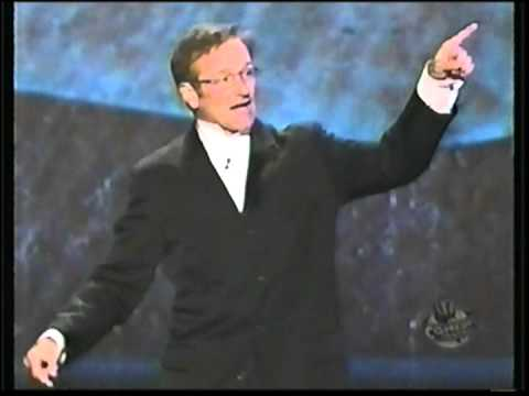 Richard Pryor receives the first Mark Twain Award Robin Williams speaks