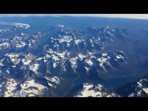 Flying over southern tip of Greenland