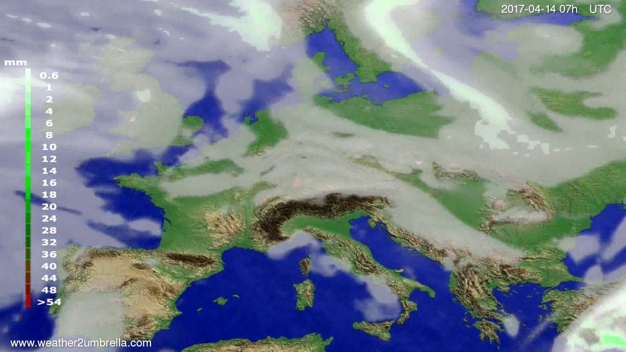 Precipitation forecast Europe 2017-04-10