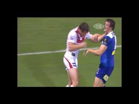 Two brothers on opposing teams in the NRL play fighting
