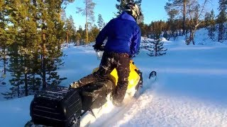 2. Testing Ski-Doo Tundra four-stroke top speed and maneuverability in Lapland