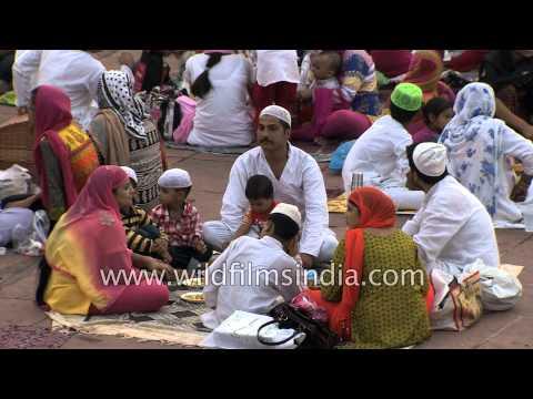 Breaking the fast during Iftar at Jama Masjid - Old Delhi