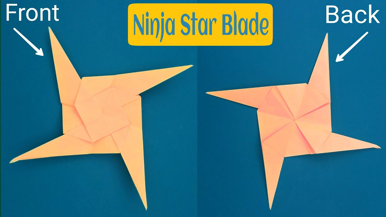 How To Make A Paper 4 Pointed Ninja Star Blade Shuriken Origami Tutorial