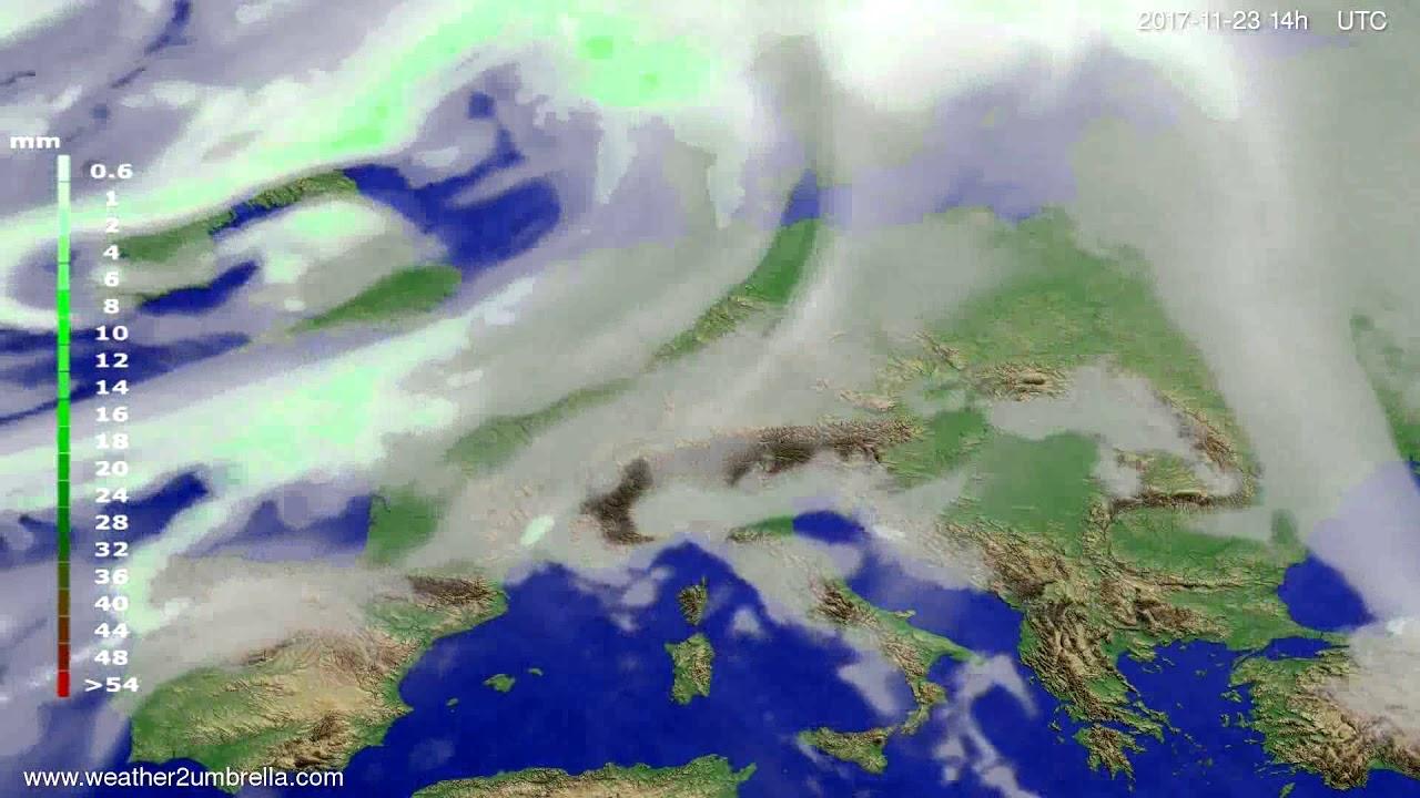 Precipitation forecast Europe 2017-11-19