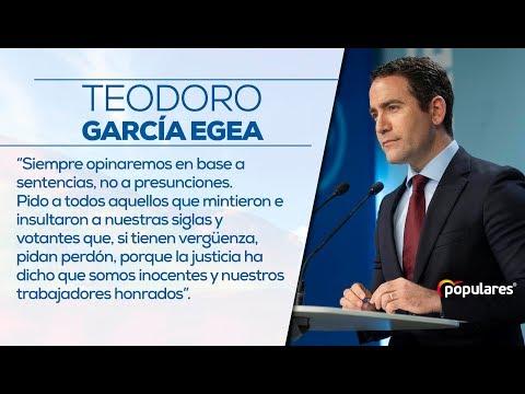 """Teodoro García Egea: """"Siempre opinaremos en base a sentencias no a presunciones"""""""