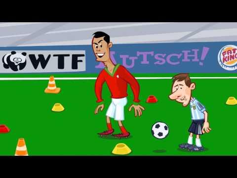 Just Cartoons: Ronaldo vs. Messi Freekick