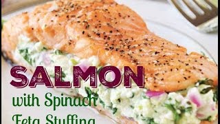 How to cook salmon in oven? This 5 ingredient quick salmon dinner recipe with spinach feta stuffing is such an amazing easy baked salmon dinner!! OMG this ...