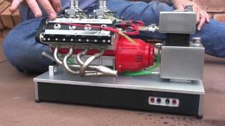 Hand made 76cc OHC Nitro V8. 4hp @6000rpm. The builder's website is: http://www.luther-modellmotoren.de/