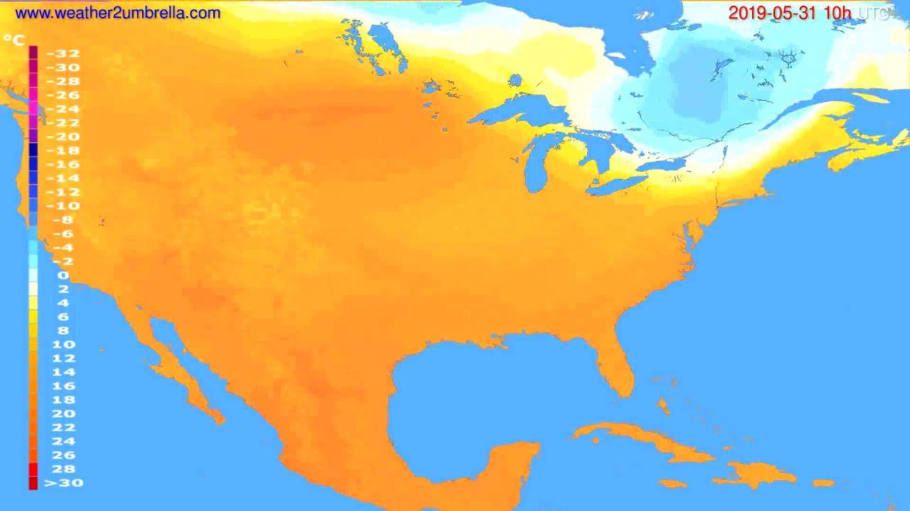 Temperature forecast USA & Canada // modelrun: 12h UTC 2019-05-28