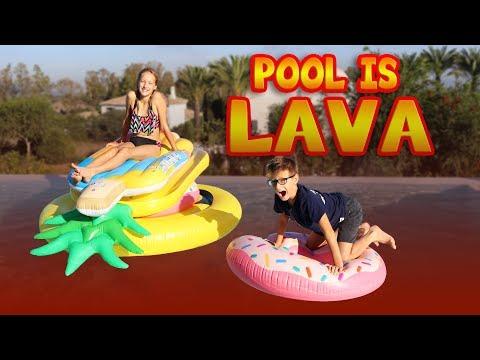 POOL IS LAVA CHALLENGE!!!