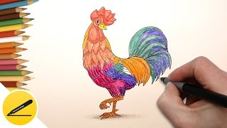 ► http://stoprintov.ru/ - Футболки с 3D изображениями! Как рисовать символ 2017 года - Петуха. В этом видео я показываю как нарисовать Петуха (2017 год по ки...