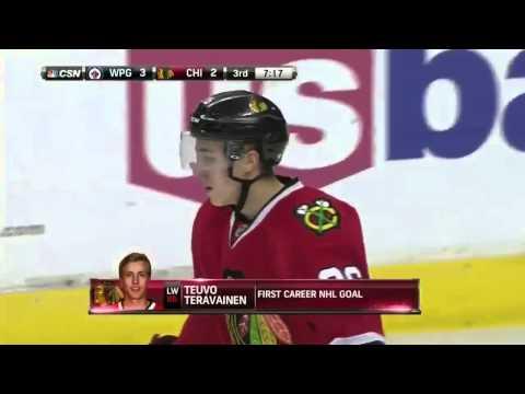 Teuvo Teravainen scores first NHL goal vs. Winnipeg Jets. January 16th, 2015 (HD)