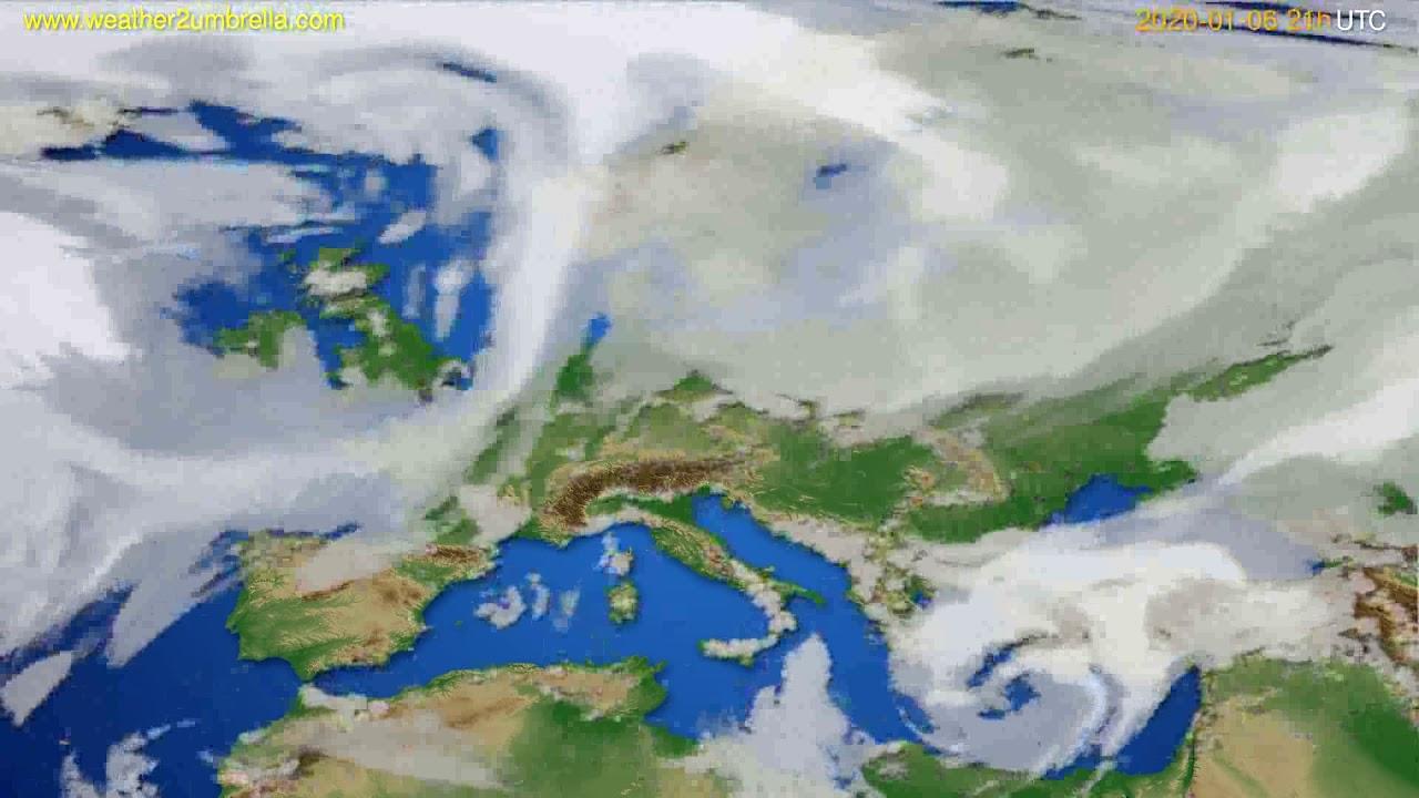 Cloud forecast Europe // modelrun: 12h UTC 2020-01-05