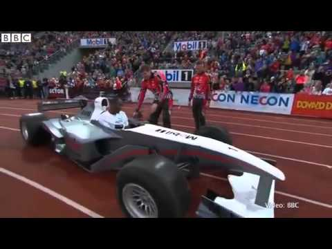 Usain Bolt does slowest 100m ever in an F1 car