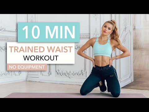 10 MIN TRAINED WAIST - Medium Level, for toned side abs / No Equipment I Pamela Reif