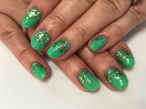 Infill on my uv gel nails using 4d gel - short natural nails with new diamond glitter