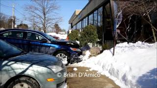 Dedham (MA) United States  city images : Dedham MA - Car Drives Throught Front of Bank of America, Washington Street - 2/25/15