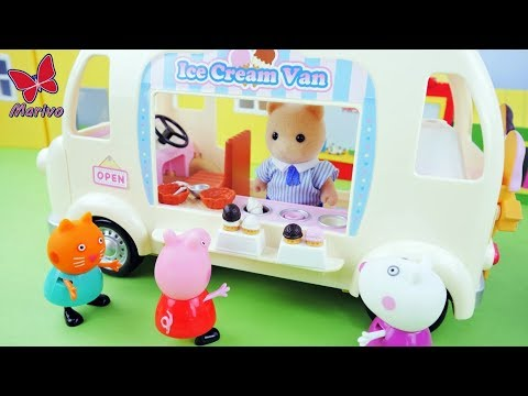Peppa Pig ate some ice cream and got sick!  STORY FOR KIDS SYLVANIAN PEPPA