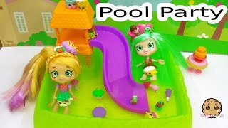 Shoppies Doll Pool Party with Pam Cake & Peppa Mint + Shopkins Season 5 Down Water Slide