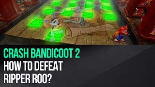 "This video shows how to defeat Ripper Roo in ""Crash Bandicoot 2: Cortex Strikes Back"" for the PS4. The boss fight take place in a similar location to the first game, but its rules are different. You must start each phase of the battle by avoiding TNT, nitro and Ripper Roo himself. In each case just find the corner which is the safest one and stay there until everything explodes. Ripper Roo will always be stunned by the last nitro and this your opportunity to use the Spin attack on him. Do this three times to defeat the boss.► MORE GAME GUIDEShttp://guides.gamepressure.com/► FOLLOW UShttps://twitter.com/gamepressurecomhttps://www.facebook.com/gamepressurecom"